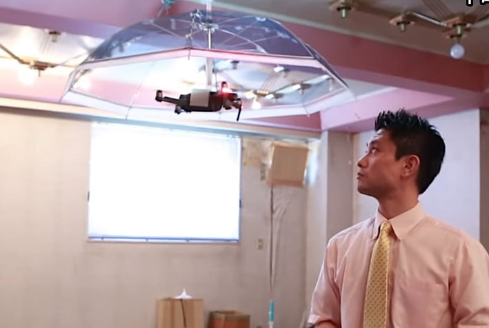 An umbrella drone that hovers above your head in bad weather