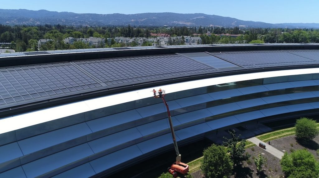 Apple Campus New Drone Videos Spot Workers Cleaning Window Shades