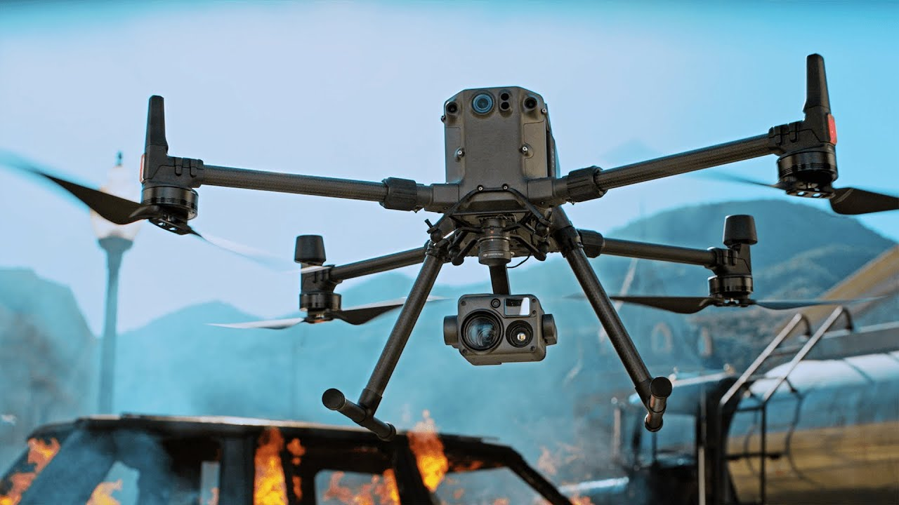 dji Matrice rtk drone over fire in the lakeside area